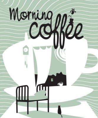 filiżanka kawy z oknem, łóżko i kotów