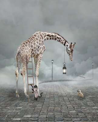 Plakat Find a friend – Surreal conceptual illustration of a giraffe meeting a baby chicken