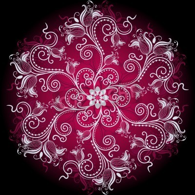Plakat Fioletowy, biały i czarny okrągły kwiatów ramka z rocznika kwiatów