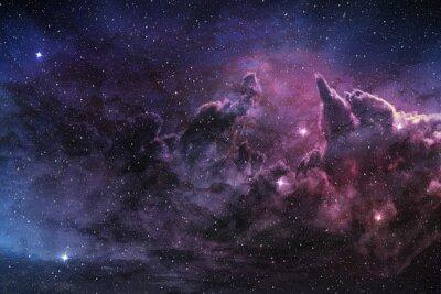 Plakat fioletowy Mgławica i pyłu kosmicznego w dziedzinie gwiazdy