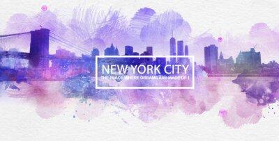 Plakat Fioletowy Nowy Jork Sny Pocztówka Malowanie