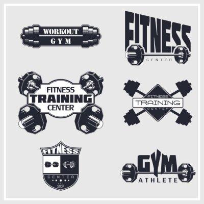 Plakat Fitness, siłownia, emblematy kulturystyki