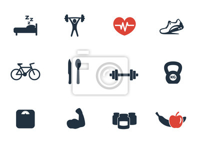 fitness, siłownia ikony zestaw 2 ilustracji wektorowych