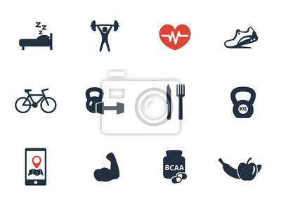 fitness, siłownia ikony zestaw ilustracji wektorowych, eps10, łatwe do edycji