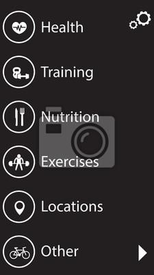 fitness, zdrowia i ikony interfejsu app szkolenia zestaw 2