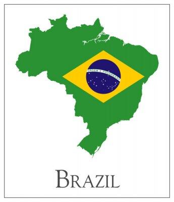 Plakat Flaga Brazylii na mapie