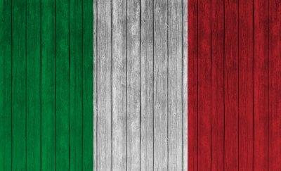 Plakat Flaga Włochy na starym tle drewna