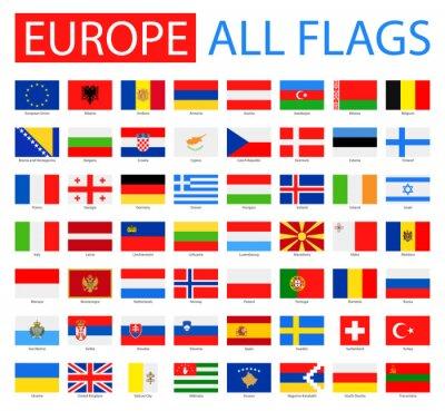 Plakat Flagi Europy - Pełna Kolekcja wektorowych. Wektor Zestaw płaskich Flagi Europy.