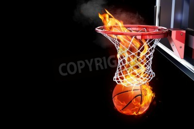 Plakat Flaming basketball going through a court net  Room for text or copy space on a black background