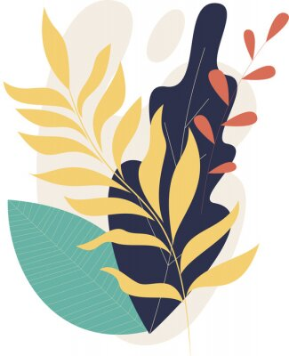 Plakat Flat modern floral foliage illustration on the white isolated background. Abstract shapes.