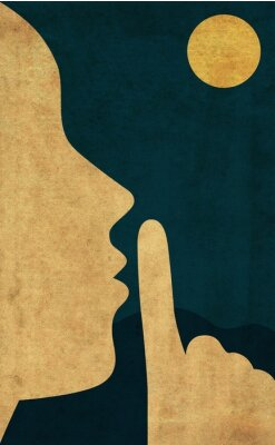 Plakat Flat style illustration of the hush gesture during a quiet night with full moon