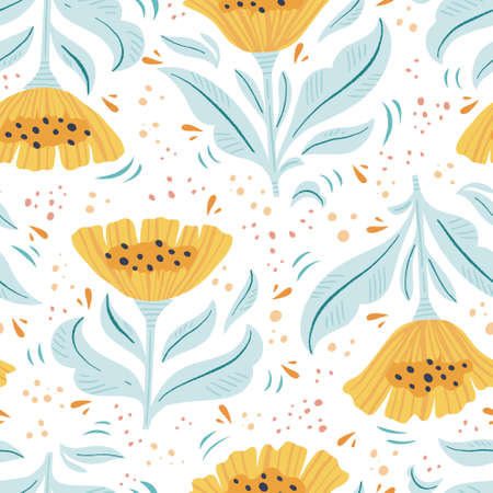 Floral flat hand drawn seamless color pattern. Cartoon texture with vintage flowers, leaves. Floral ornament scandinavian style illustration. Sketch wrapping paper, textile, background vector fill