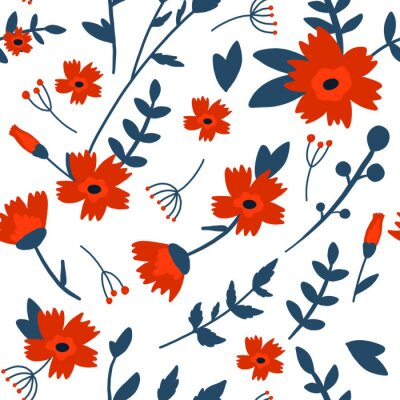 Floral hand drawn seamless color pattern. Cartoon texture with cute flowers and leaves. Floral ornament in scandinavian style. Sketch for wrapping paper, textile, background vector fill.