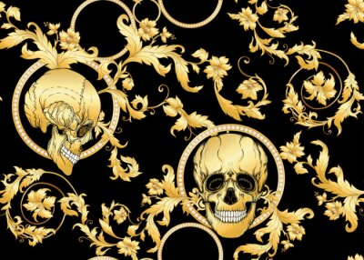 Plakat Floral pattern with human skull. Seamless pattern in baroque style. Vector illustration.