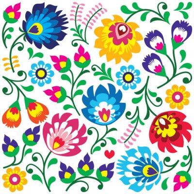 Plakat Floral Polish folk art pattern in square - Wycinanki