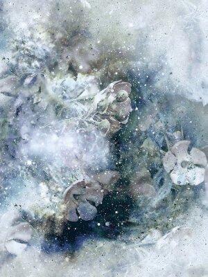 Plakat Flovers i tła zimowych, Stary styl sztuki, komputer kolażu.