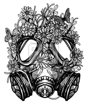 Plakat flower in gas mask toxicity emblem can be used tattoo design