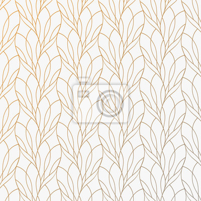 Plakat Flower petal or leaves geometric pattern vector background. Repeating tile texture of this line on oval shape with gradient effect. Pattern is clean usable for wallpaper, fabric, printing.