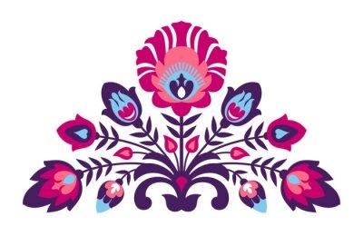 Plakat Folk Papercut stylu kwiaty