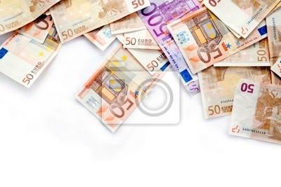 Fondo de billetes aislados en blanco