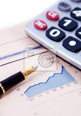 Fondo de negocios con Gráficos, Calculadora y pluma