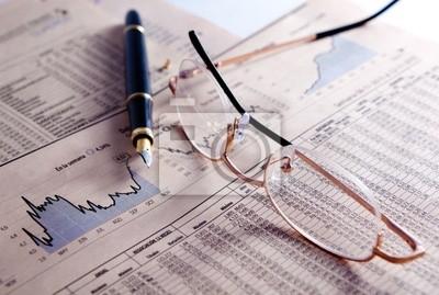 Fondo de negocios con Gráficos, gafas y pluma