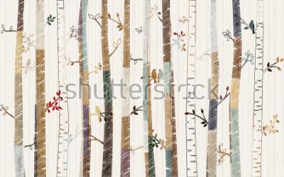 Plakat Forest tree pattern on decorative background wallpaper