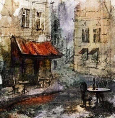 Plakat Francuski zewnątrz European Cafe malarstwo, rysunek w kolorze graficzny