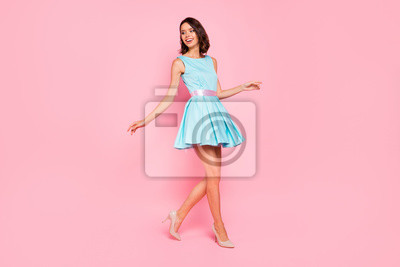 Plakat Full length side profile body size photo beautiful she her lady going graduation college university school walking street wear high-heels colorful blue dress isolated pink bright vivid background