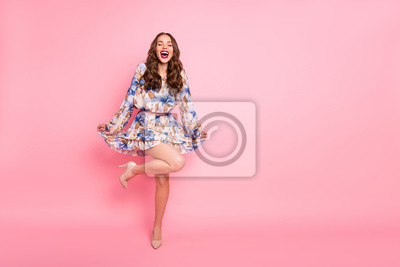 Plakat Full size photo of pretty lady posing for prom night pictures wear cute dress isolated pink background
