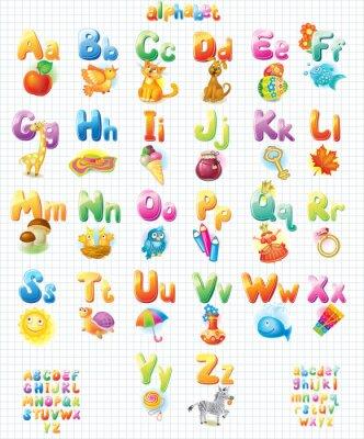 Plakat Funny Alfabet z obrazkami dla dzieci