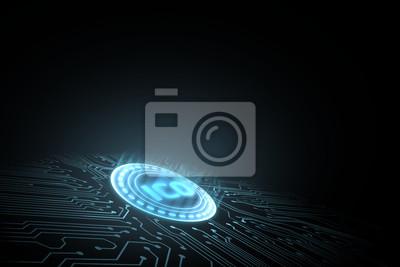 Futurystyczny cyfrowy świecące Wstępna oferta monet (ICO) z abstrakcyjnym binarnym tekstem zero-jeden fala tło. Dla koncepcji promocji kryptowaluty, blockchain, token i chip