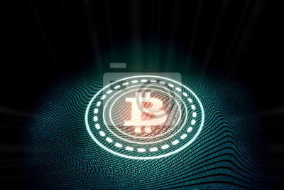 Futurystyczny nowoczesny świecące logo Bitcoin na cyfrowym tle binarnym. Na rynku kryptowaluty, wydobywania monet, handlu, promocji i reklamy.
