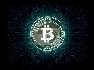 Futurystyczny nowoczesny świecący hologram logo Bitcoin (BTC) unosi się nad niebieskim tłem scifi. Na rynku kryptowaluty, wydobywania monet, handlu, promocji i reklamy.