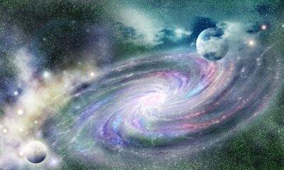 Plakat galaktyka spiralna w uniwersum