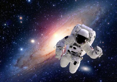 Plakat Garnitur astronauta kosmonauta kosmos ludzie układ słoneczny wszechświat. Elementy tego zdjęcia dostarczone przez NASA.