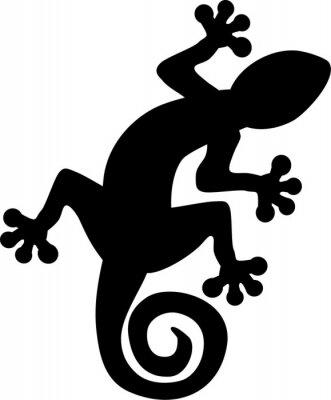 Plakat Gecko jaszczurka sylwetka