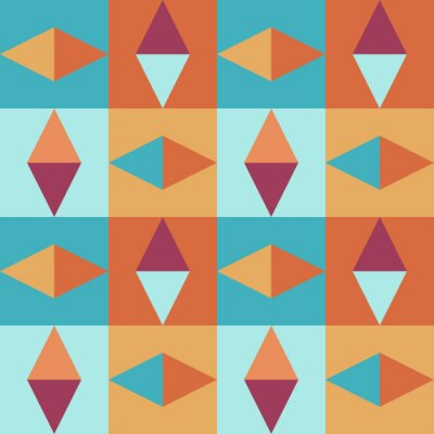 Geometric seamless vintage pattern retro style with squares and triangles in warm and cold colors