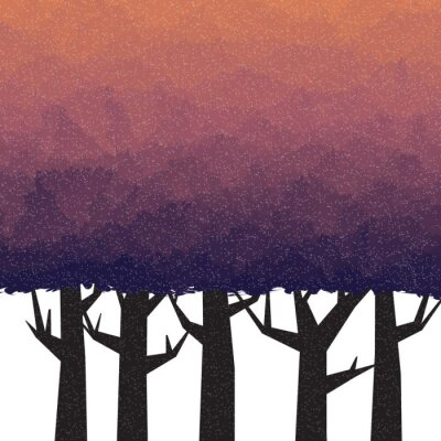 Plakat Gęsty las w czasie zmierzchu