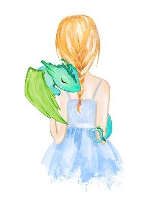 Plakat Girl holding little dragon. Hand drawn watercolor illustration