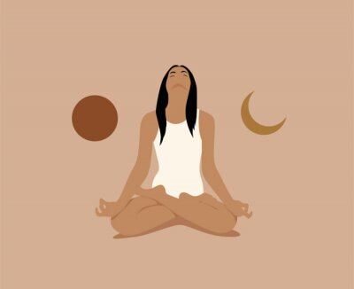 Plakat Girl or woman meditate in lotus asana or position with sun and moon on both sides. Meditation or inner balance concept. Trendy minimalistic pastel terracotta colored vector illustration.