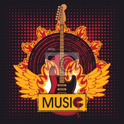gitara elektryczna przeciwko płycie winylowej w ogniu