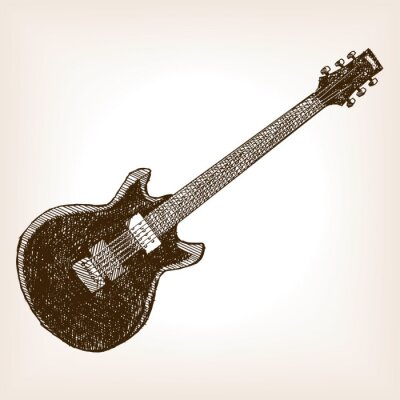 Plakat Gitara elektryczna wyciągnąć rękę styl szkic wektor