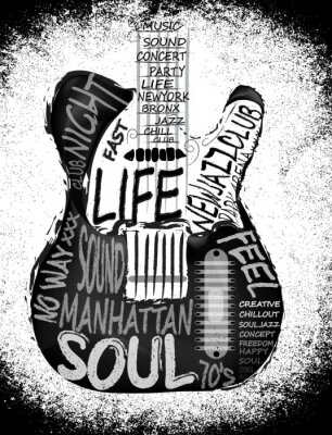 Plakat Gitara wektor projekt graficzny