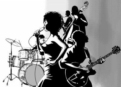 Plakat Gitara wokalista jazzowy saksofon i odtwarzacz kontrabasu