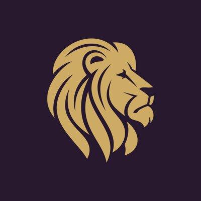 Plakat Głowa lwa logo lub ikony w jednym kolorze. ilustracji wektorowych Zdjęcie.