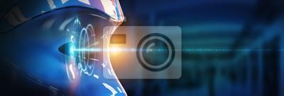 Plakat Głowica Cyborga wykorzystująca sztuczną inteligencję do tworzenia renderingu 3D w interfejsie cyfrowym