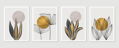 Plakat Gold Botanical wall art vector set. Earth tone boho foliage line art drawing with  abstract shape.  Abstract Plant Art design for print, cover, wallpaper, Minimal and  natural wall art.