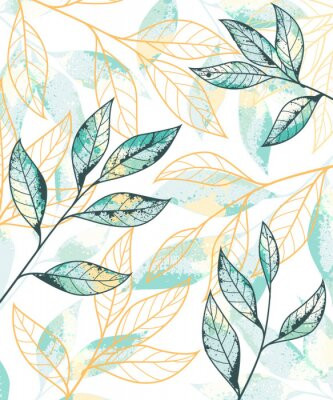 Plakat Golden and green leaves pattern. Hand drawn vector background