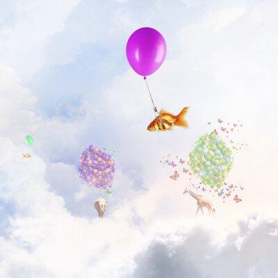 Plakat Goldfish latać balonem